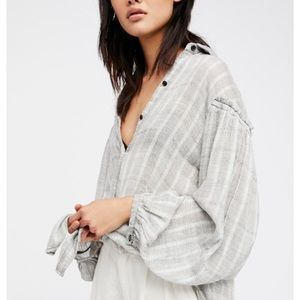 {Free People} 'Headed to the Highlands' Button Top
